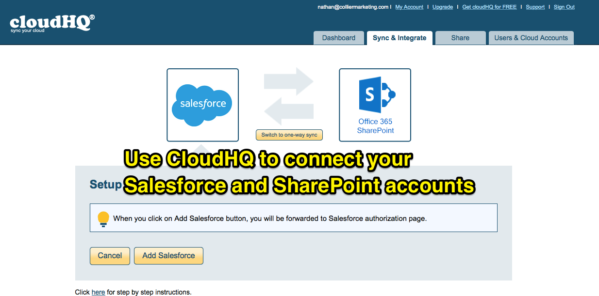 2. Connect SharePoint to Salesforce