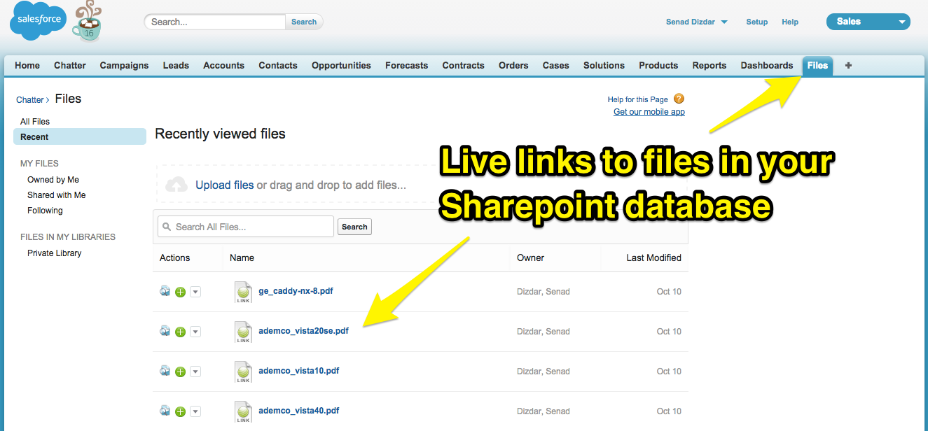 Step 3. In Salesforce, Check to See if You Can See SharePoint Files