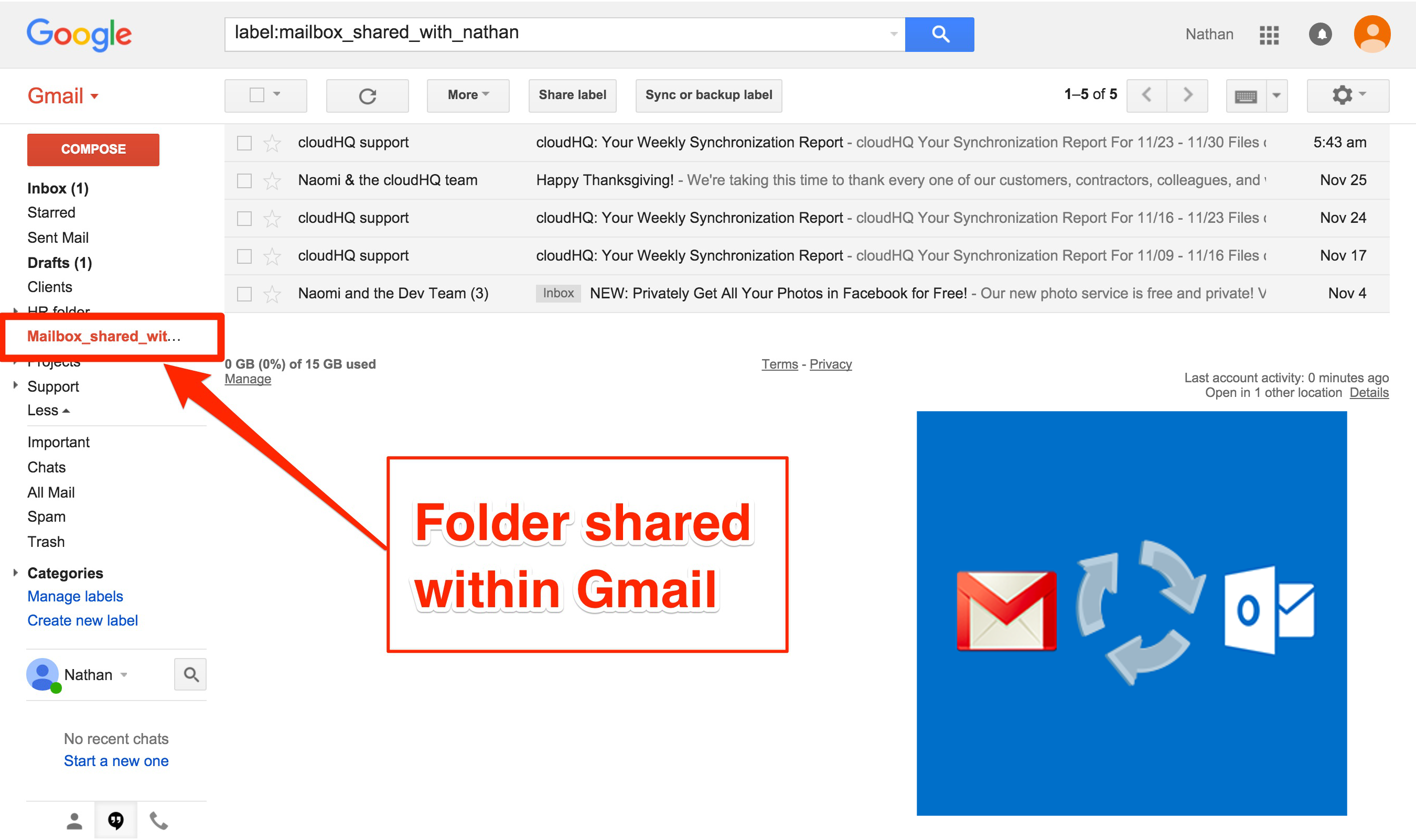 Gmail to Office365 Sharing