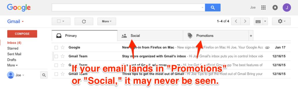 Gmail tabs screenshot