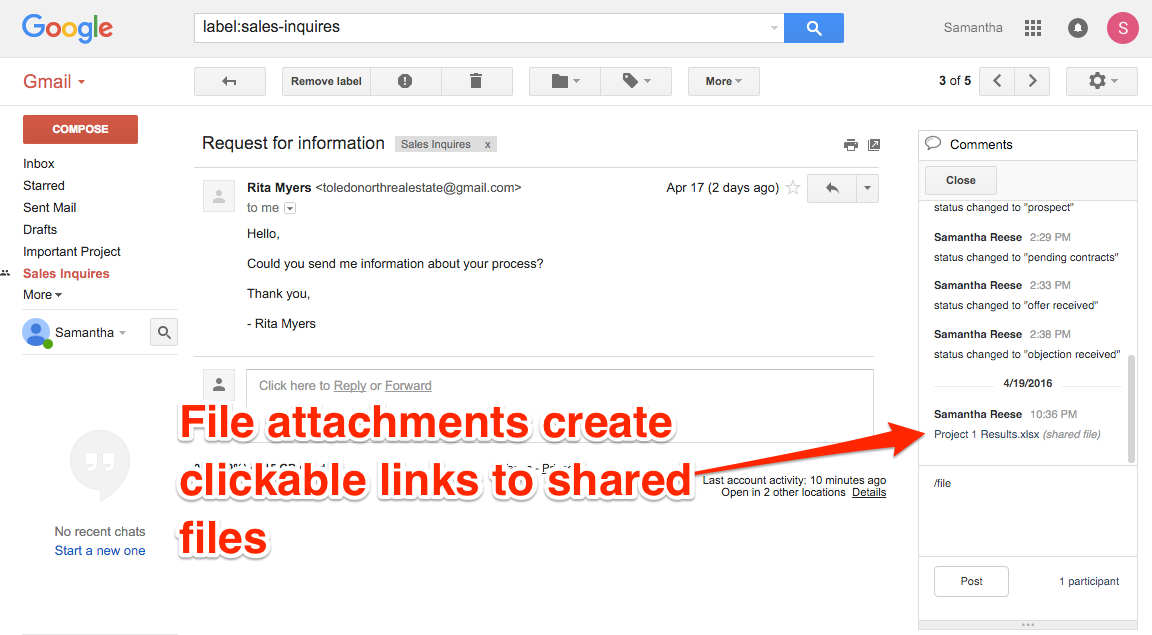 Gmail Label File Attachments