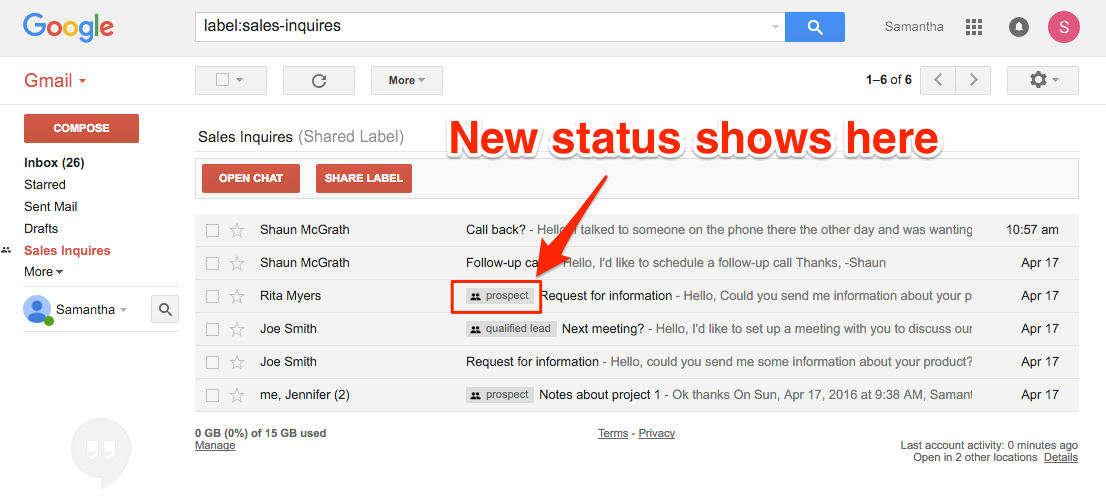 Gmail Label Status