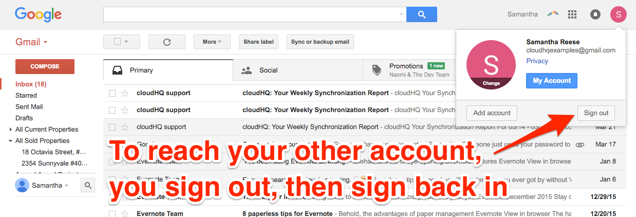 cloudHQ Multiple Google Accounts SignOut