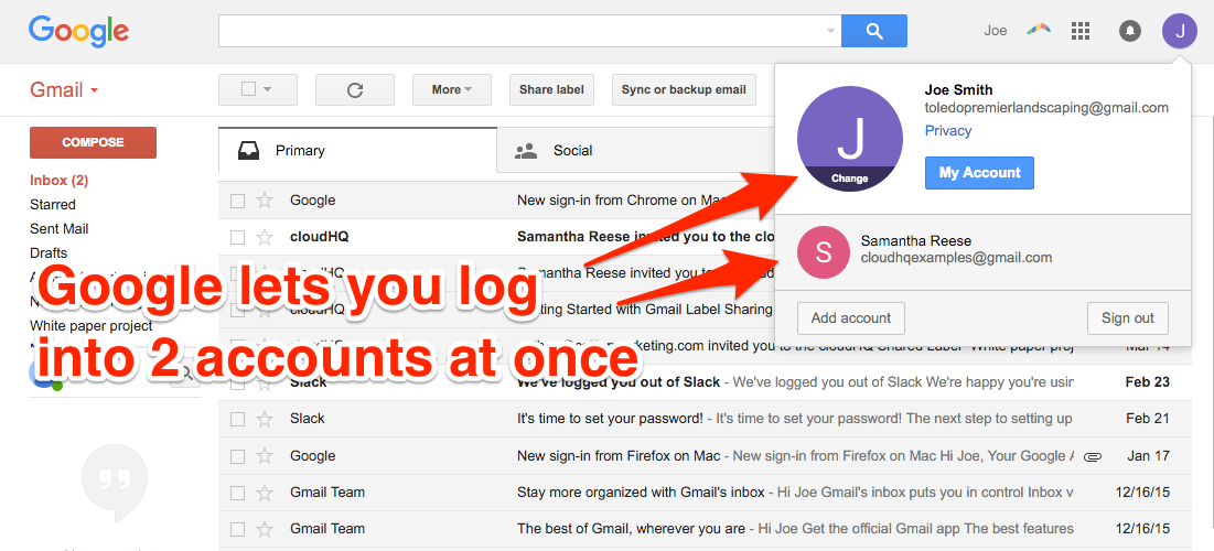 cloudHQ Multiple Google Accounts Add Account