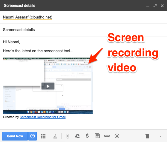 Screen recording video in Gmail