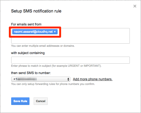 Gmail set alerts