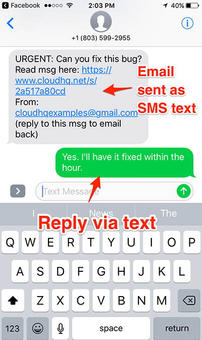 Reply via text message to Gmail