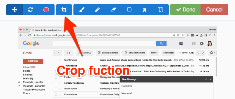Gmail screenshot crop function