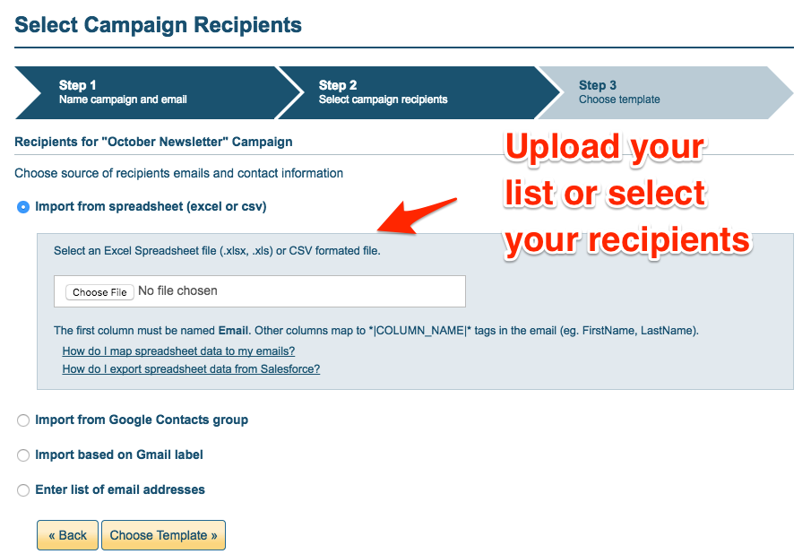 Upload your email list