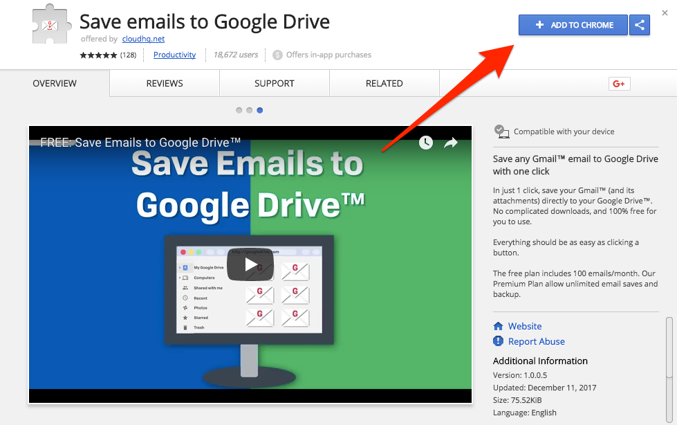 Install Save Emails to Google Drive