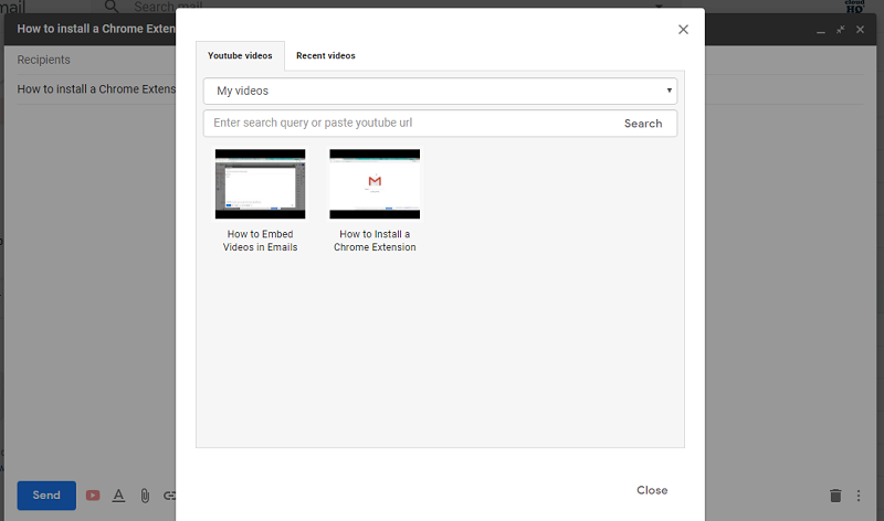 embed youtube videos in gmail