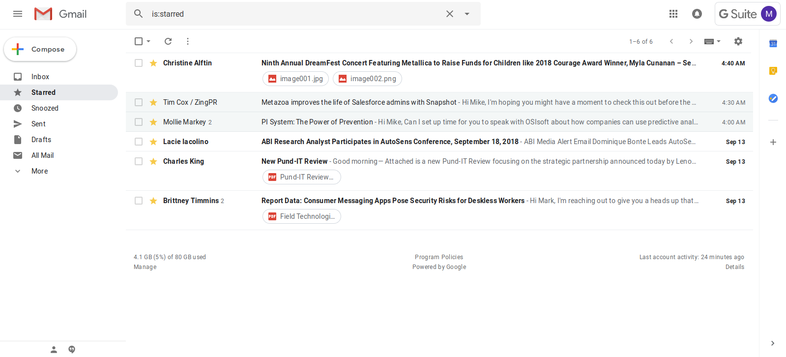 New Gmail inbox with clickable attachments