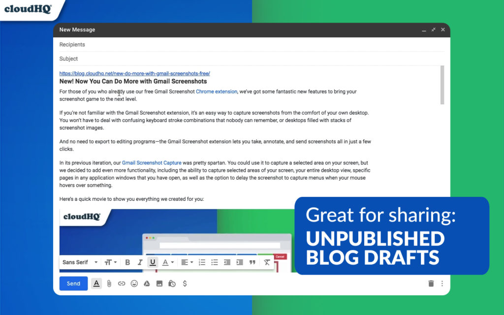 NEW! Send Visually Appealing URL Link Previews in Gmail | cloudHQ Blog