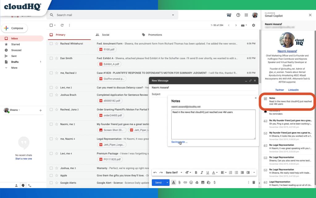 gmail copilot cloudhq notes