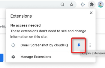 Pin Gmail Screenshot to the Chrome Toolbar