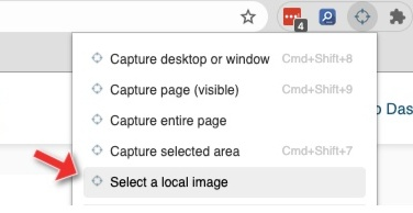 Select a file for the image markup tool