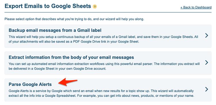 Parse Google Alerts wizard