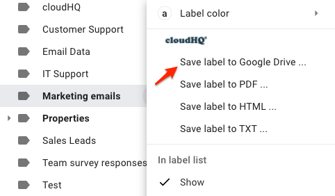 Save label to PDF