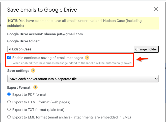 Automatically save emails as PDFs in Google Drive