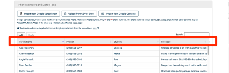 text message reminders using merge tags with Google Sheets and cloudHQ's MailKing.io