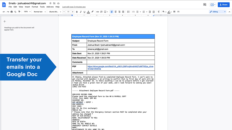 Collect emails in Google Docs